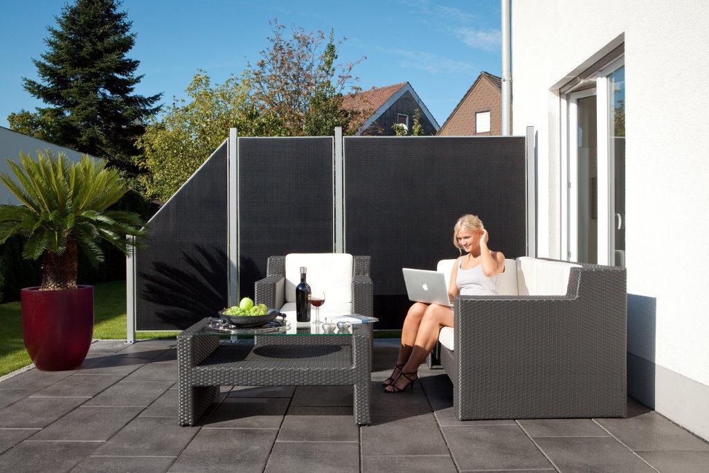 sichtschutz terrasse metall. Black Bedroom Furniture Sets. Home Design Ideas